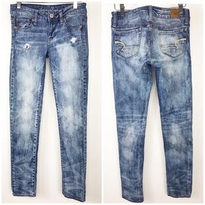 American Eagle skinny distressed stretch jeans 0
